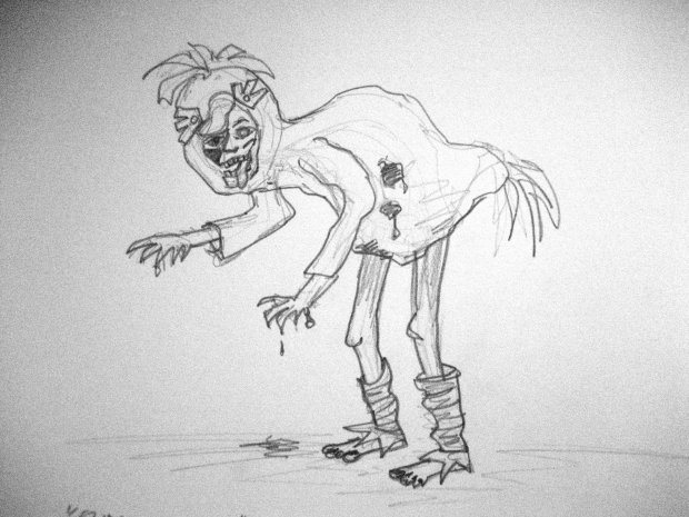 Rosalind as a zombie 'duck' sketch