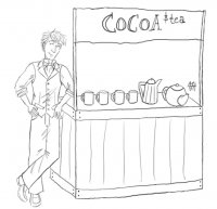 Commissioned by Tyr's writer.  Here's the god of cocoa... all Jokery and proud of his lemonade-stand-style cocoa booth.