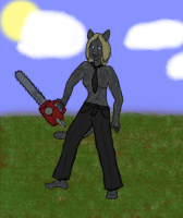 A shoddy drawing of Esc as a Kittymorph, in Happy Sunshine Land.  No, I'm not an artist!  Really!