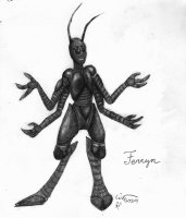 Well, after talking to Ferryn a bit this is what I decided she looked like as an insectoid. Just pencil on paper.