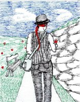 A penscratching I did one morning. It didn't start out this way, but by the end I had sketched out Rosin taking a walk through her rose garden.