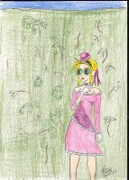 "Woke up the other day wondering what would Skye act and dress like if she were to be a ""lady"" for a few days. This little drawing came up. I just love putting Skye in pink. In Story, she even dyed her hair for this. There are a few things I don't like about this picture. Things are iffy, there are places where my nibs kept running away from where I wanted them to go. I love her hat though. I wish I had that."