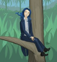 Here's a commissioned piece that I did for Kestrel.  She's sitting in a tree, as you can see, and that's Kagero on her shoulder.  So much blue!  It was a challenge!  I had a lot of fun.