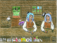 PotatoPancakes and PotatoPancakes at the Raven Inn. made with old-fashioned pencil, ink, and colouring pencils. The one on the right is the clone. The other one has purple hair tips because it changes colour depending on mood.   VERY MANY MISTAKES WERE MADE IN THE CREATION OF THIS PICTURE.  Also on my DeviantArt which you guys'll have to find on your own.  --PP