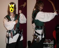 The cool thing about this costume is the number of sharp objects. I have three throwing knives, two knives, one dagger, an axe, and a sword.